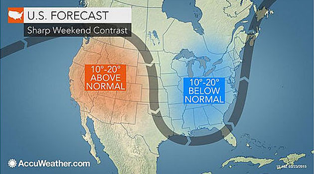 Warmth to Surge Into Northeast at Midweek; Days of Above-Normal Temperatures, Rise to More Seasonable Levels