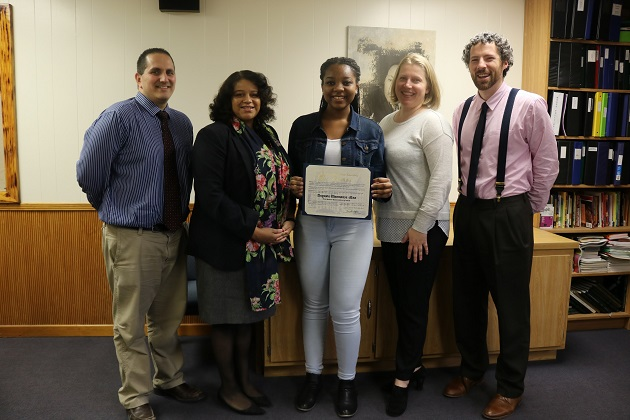 Intel Talent Search Finalist Augusta Uwamanzu-Nna, Advisors Michelle Flannory and David Spinnato, Principal Kevin Dougherty, and New York State Assemblywoman Michaelle Solages.