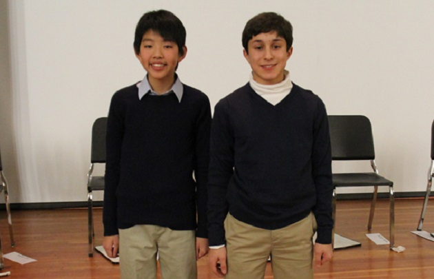 Green Vale Geography Bee Winner and Runner Up; Justin (left) and Sam (right).