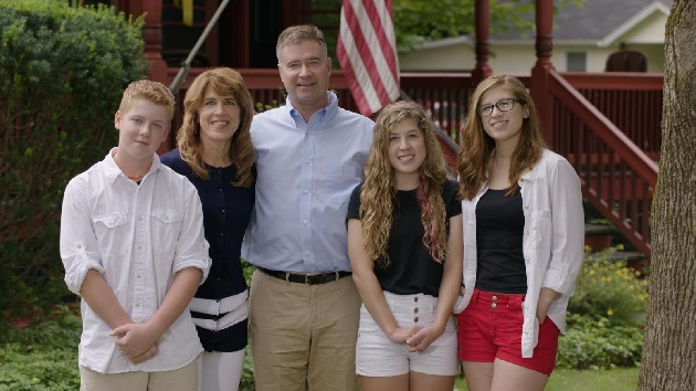 The Gibson Family outside their home in Kinderhook, NY. (L-R Connor, Mary Jo, Chris, Maggie, Katie) (Credit: Jason Meath)