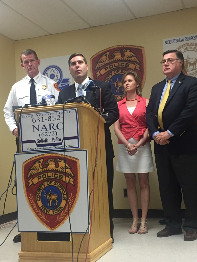 From left to right: Suffolk County Police Chief Stuart Cameron, Police Commissioner Tim Sini, Suffolk County Legislator Sarah Anker, and Town of Brookhaven Supervisor Ed Romaine.