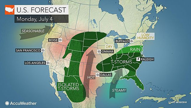 AccuWeather: Dry Weather to Prevail Across Northeast, Midwest, West Coast for 4th of July Fireworks, Barbecues