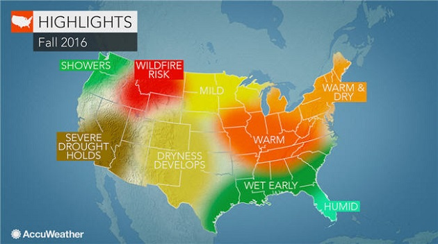 AccuWeather 2016 US Fall Forecast: Northeast to Dodge Season's Chill; Severe Drought to Amplify Western Wildfire Threat