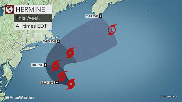 AccuWeather: Hermine Spinning Toward Long Island; Could Down Trees, Cause Property Damage, Power Outages, Before Turning out to Sea