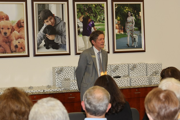 Dr. James A. Kutsch Jr., the President of Seeing Eye, Inc., speaking at The Seeing Eye.