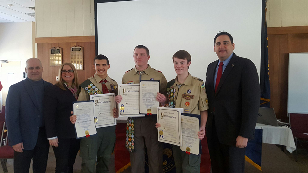 Lupinacci Recognizes BSA Troop 78'S Three Newest Eagle Scouts