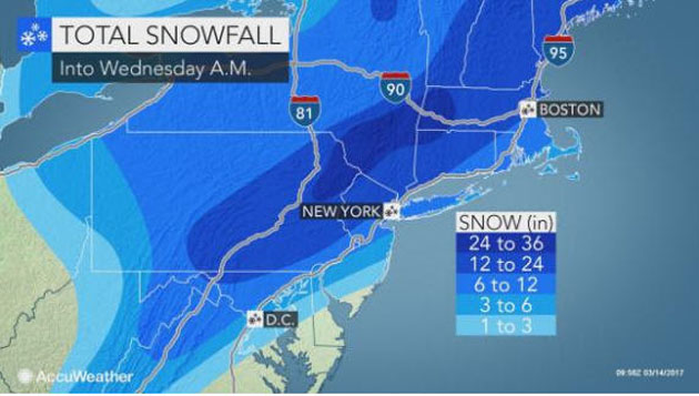 AccuWeather: Nor'easter Shuts Down Travel, Threatens to Unleash Blizzard Conditions in At-least 8 States