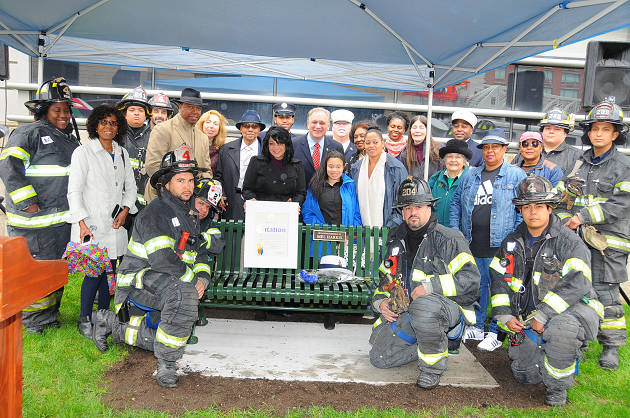 Mangano Dedicates Bench In Memory Of Uniondale Civic Leader Melvin Harris, Jr