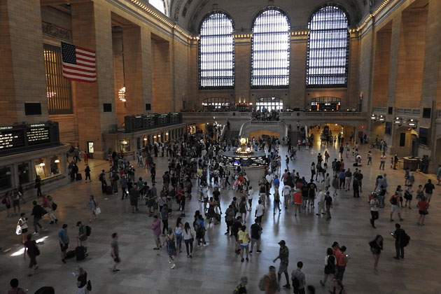 Travel: Commuters Stranded at New York City's Grand Central Station During Brunt Nor'easter