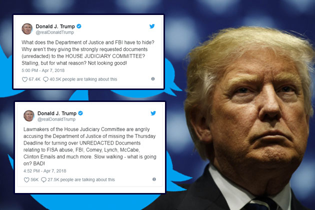 "Trump Blasts Agencies on Twitter: ""What does the Department of Justice and FBI have to hide?"""