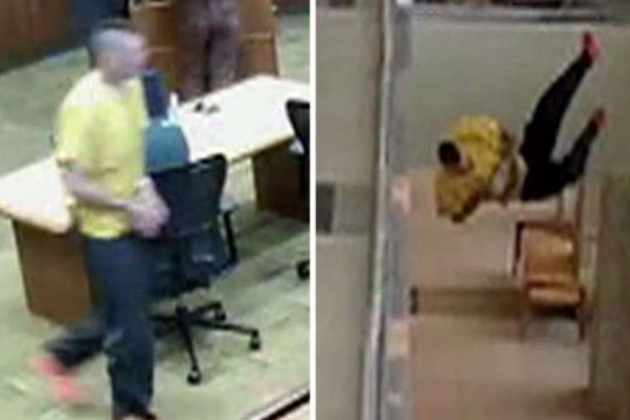 VIDEO: After Running Out of Utah Courtroom Handcuffed Suspect Threw Himself Head First Off 2nd-Floor Balcony